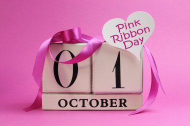 October 1, Pink Ribbon Day, with pink ribbon decorations