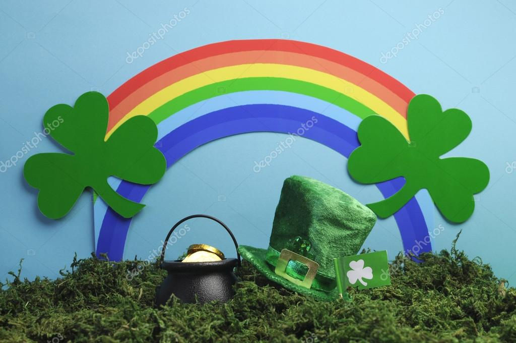 St Patricks Day Still Life With Leprechaun Hat Pot Of Gold Shamrocks And Rainbow