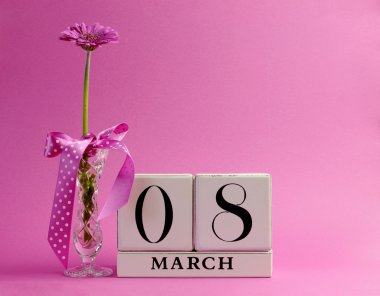 Pink theme calendar date for International Women's Day