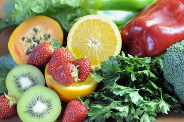 Sources of Vitamin C for healthy diet and fitness - close-up.