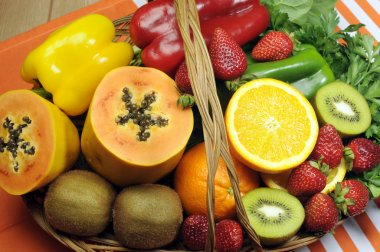 Healthy diet - sources of Vitamin C - oranges, strawberry, bell pepper capsicum, kiwi fruit, paw paw, spinack dark leafy greens and parsley.
