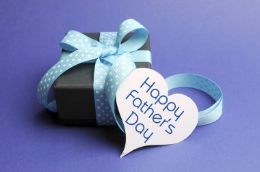 Happy Fathers Day blue theme gift with heart gift tag