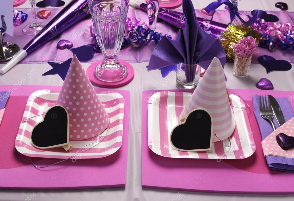 Pink Purple And White Party Decorations from st.depositphotos.com