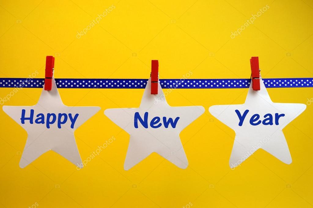 Frohes neues Jahr Nachricht Gruß weiße Sterne und rote Heringe auf ...