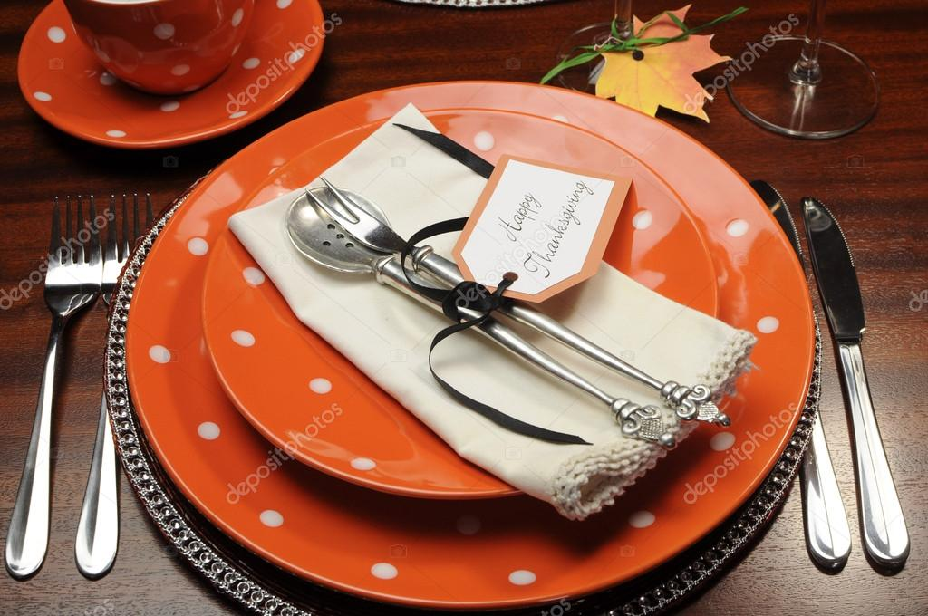 Beautiful Autumn Fall theme Thanksgiving dinner table place setting with Happy Thanksgiving tag attached to silverware. u2014 Photo by amarosy & Beautiful Fall Theme Thanksgiving dinner table setting u2014 Stock Photo ...