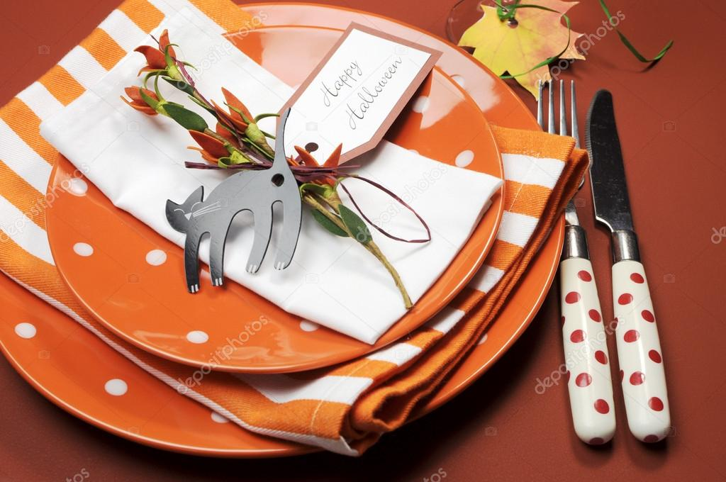 Halloween Dinner Table Setting.Bright And Modern Happy Halloween Lunch Or Dinner Table