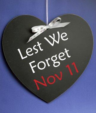 Lest We Forget message written on heart shape blackboard