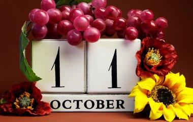 Seasonal Save the Date calendar for individual October date