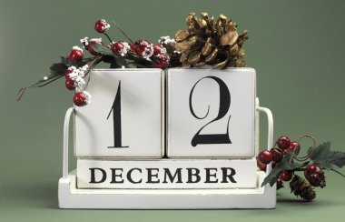 Save the date shabby chic white calendar for individual days in December