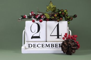 Seasonal vintage calendar for individual days in December