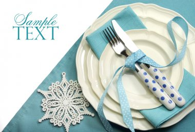 Festive dining table place setting with copy space for your text here.