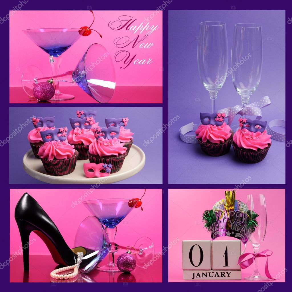pink and purple theme happy new year collage with party theme stock photo