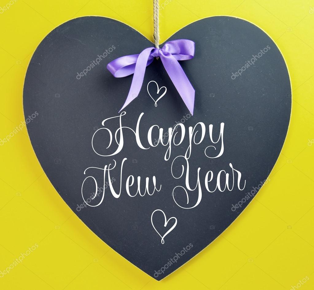Frohes neues Jahr 2014 Nachricht Gruß geschrieben am Herzen Form ...