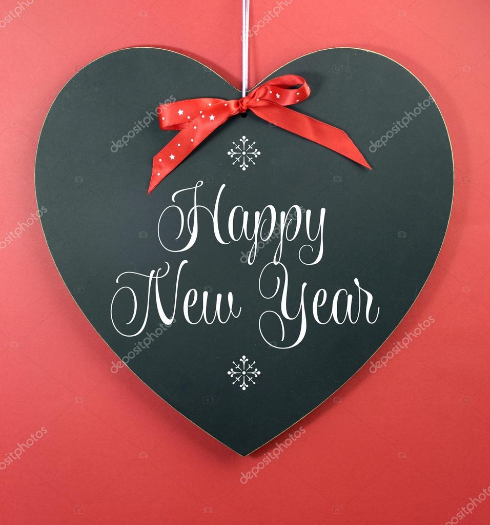 Happy New Year 2014 Message Greeting Written On Heart Shape