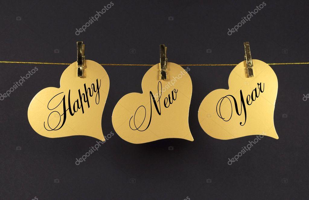 Frohes neues Jahr Nachricht Gruß Text in gold Herz hängen von ...