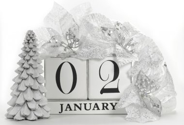 Vintage retro save the date white wood block calendar for individual days in January