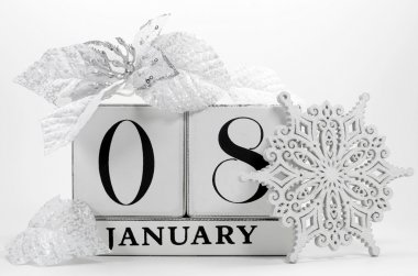 Save the date vintage shabby chic calendar for January 8