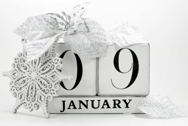 Save the date vintage shabby chic calendar for January 9