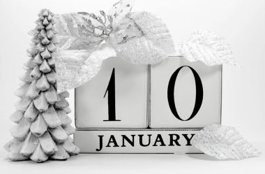 Save the date vintage shabby chic calendar for January 10
