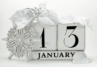 Save the date vintage shabby chic calendar for January 13