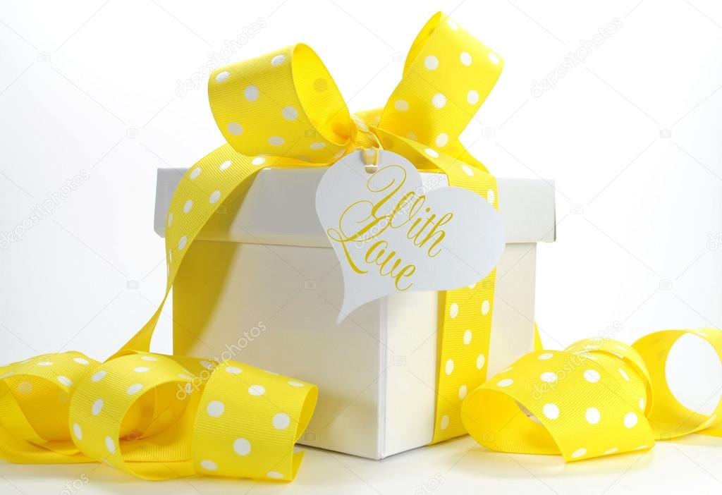 Bright Color Yellow Theme Gift Box And Ribbons Wrapping Stock