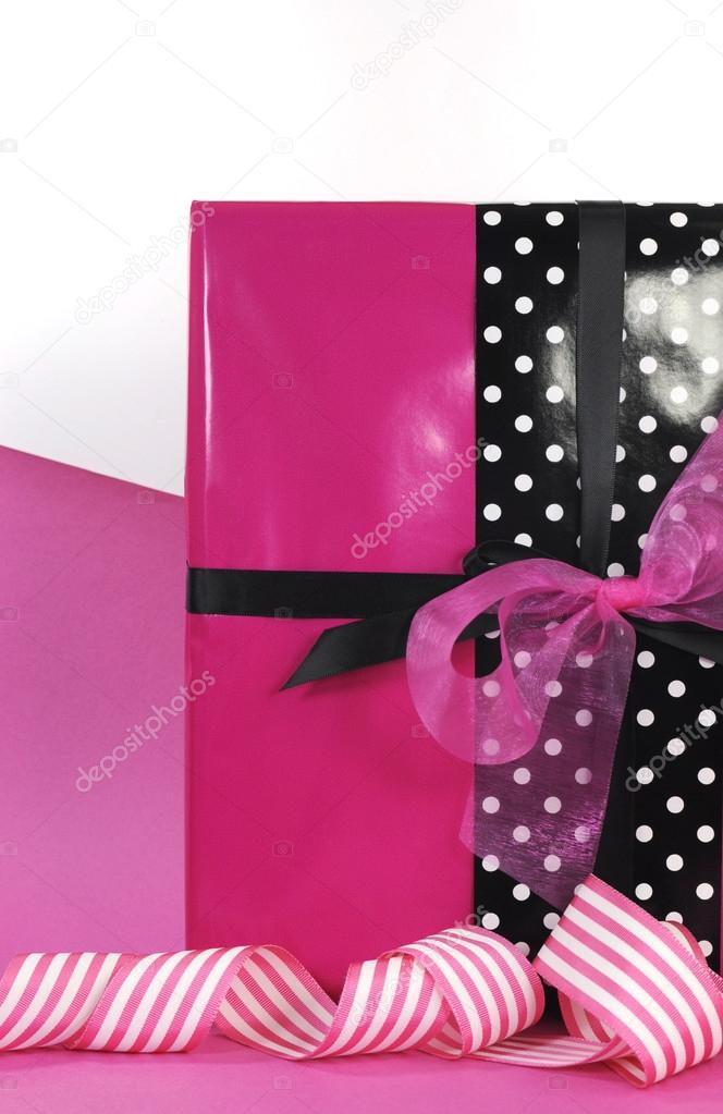 Modern Theme Pink And Black Valentine Or Birthday Gift Box Stock Photo