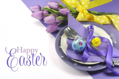 Happy Easter yellow and purple mauve lilac theme easter table place setting