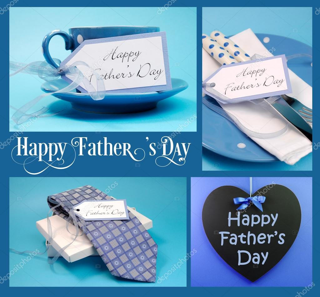 Happy Fathers Day collage of four images with gifts, greeting blackboard and sample text on blue background