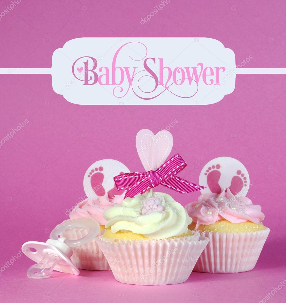Pink baby girl cupcakes with greeting sample text in vintage sty