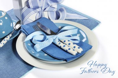 Happy Fathers Day blue table setting