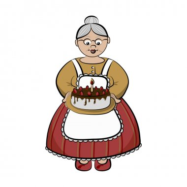 Old lady with birhday cake