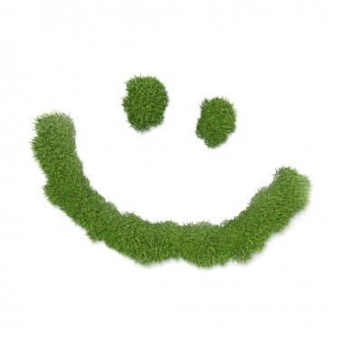 Smiley face shaped grass