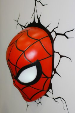 A model of the Spiderman Mask from the movies and comics