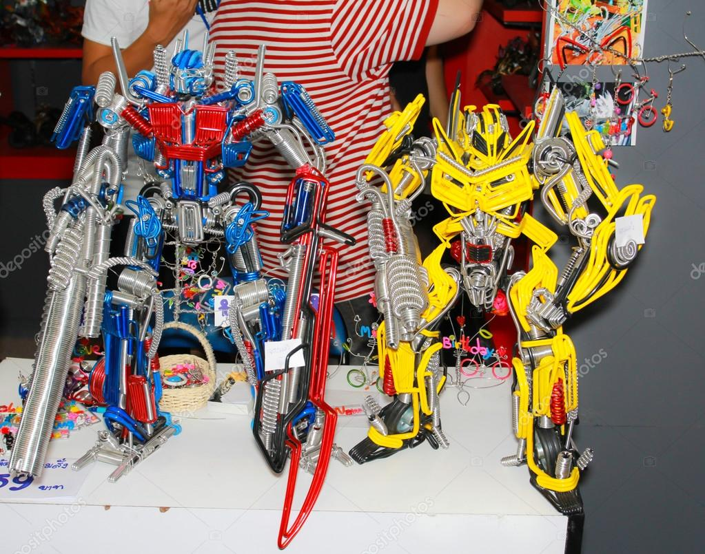 A model of the character Transformer from the movies and comics
