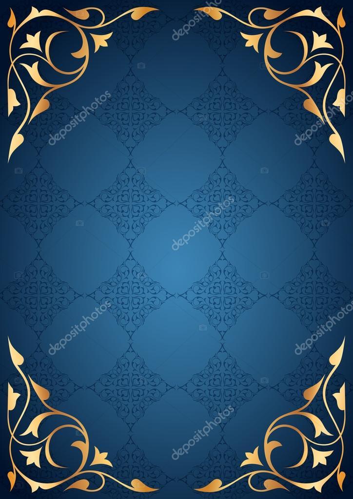 Altın desenli çerçeve mavi fonda