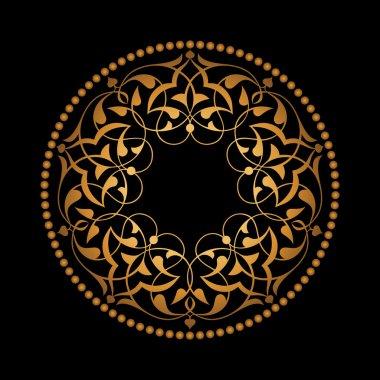 Altın Osmanlı motifleri siyah zeminde
