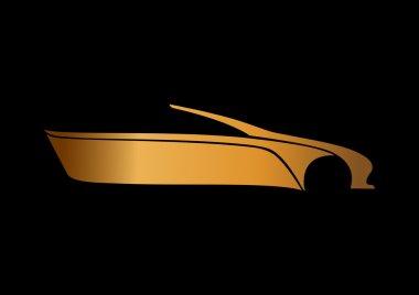 Car logo black background gold paper