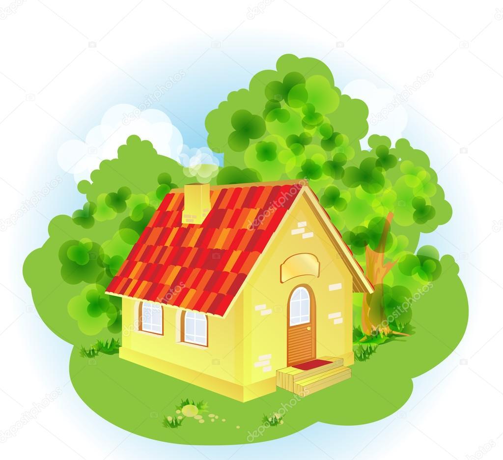 Une maison de campagne de dessin anim mignon image - Maison de campagne dessin ...