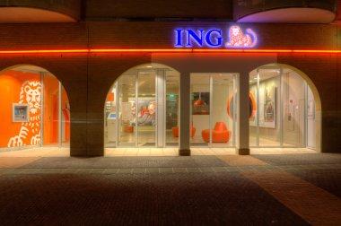 Evening shot of the Branch of ING The Haagje in Hoogeveen, Netherlands