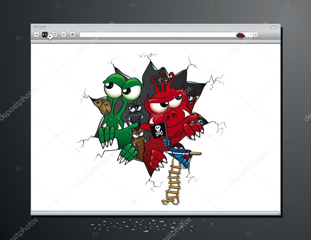 Virus Attack on your Internet browser — Stock Vector ...