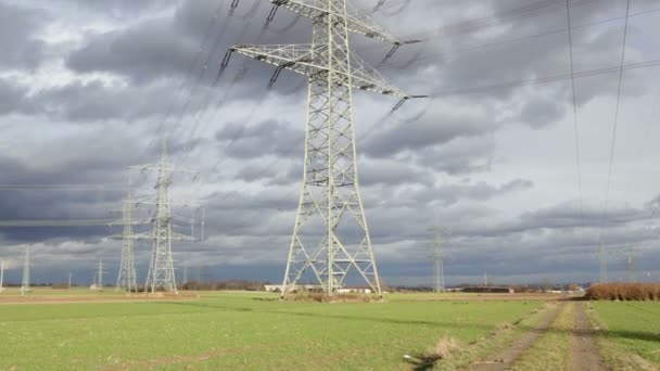 High voltage power lines and electricity pylons