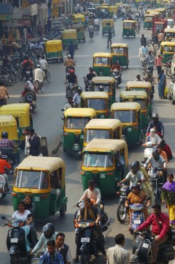 Traffic on streets of India