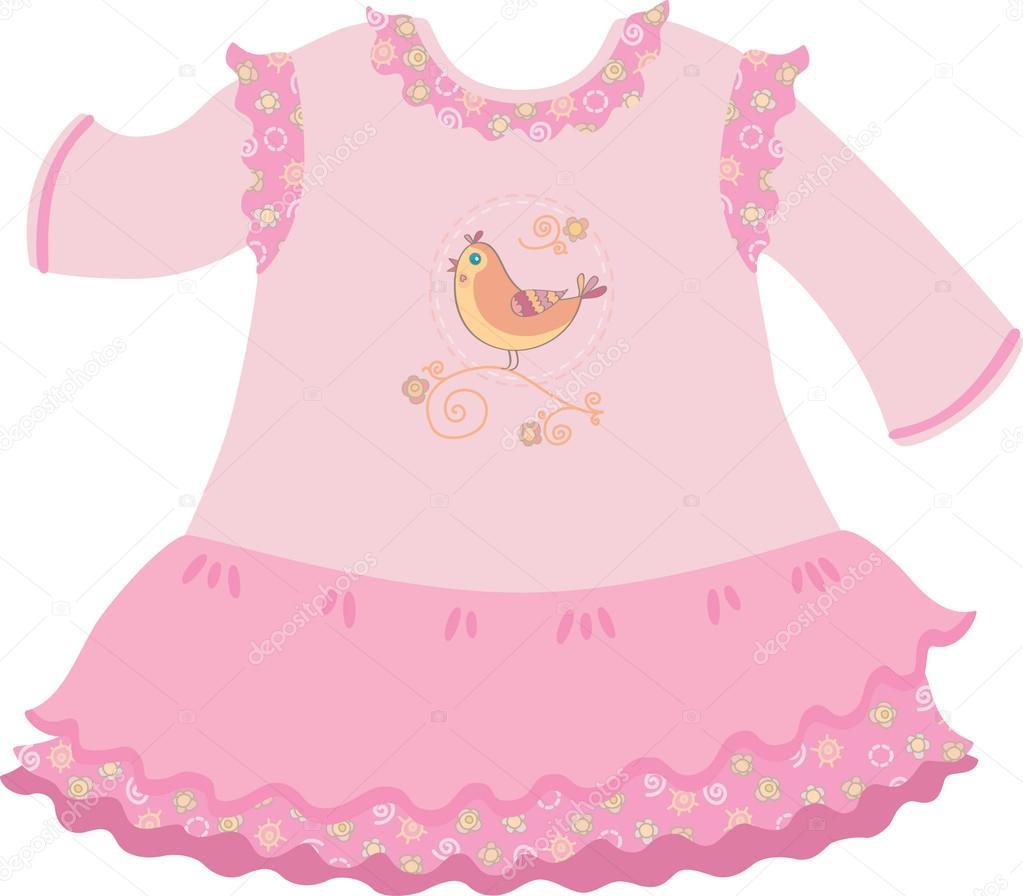 vestido de la muchacha del bebé — Archivo Imágenes Vectoriales ...