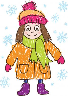 Kids Drawing. Girl in the winter