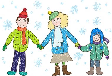 Kids Drawing. Family in the winter: mother, father
