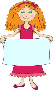 Little girl holding blank placard