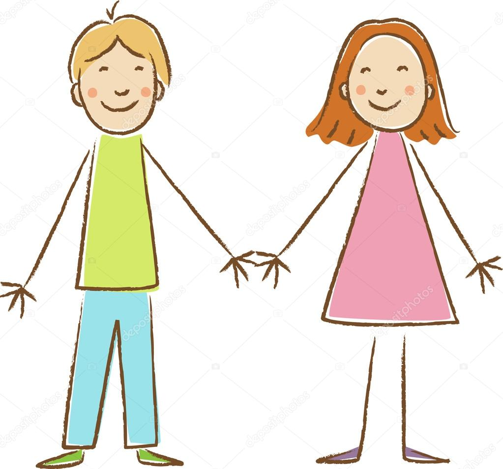 Drawings Drawing Of Boy And Girl Kids Drawing Boy And Girl Stock Vector C Primovich 28574919