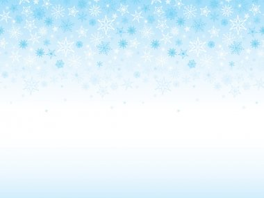 Vector Seamless Horizontal Background Border With Blue Falling Snowflakes clip art vector