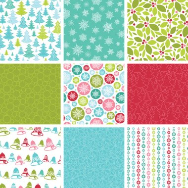 Colorful Winter Holidays Collection Of NineVector Seamless Patterns with Christmas symbols and ornaments. clip art vector