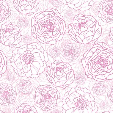 Drawn Pink Flowers Seamless Pattern Background